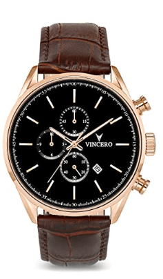 Vincero Leather Band Chrono S Rose Gold Dial Men's Watch