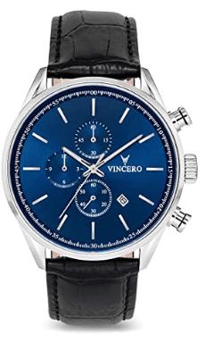 Vincero Leather Belt Blue Dial Men's Chrono S Watch