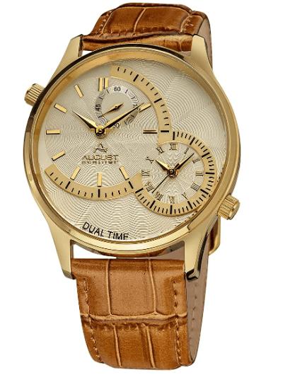 August Steiner Men's Unique Shaped Dual Time Zone Men's Watch