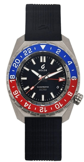 Boldr Globetrotter GMT Dive Wrist Watch | Blue/Red