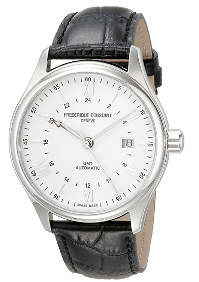 Frederique Constant Men's 'Classics' Silver Dial Black Leather Strap