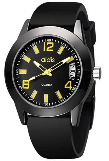 Mens Quartz Watch,30m Waterproof Silicone Strap Stainless Steel Clasp Calendar Student [Child] Adolescent Boy-E