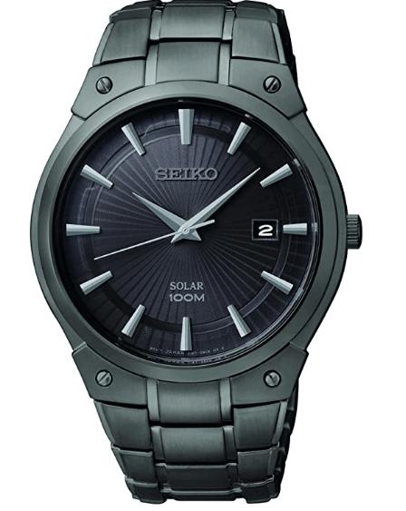 Seiko Men's Dress Solar Black Stainless Steel Watch